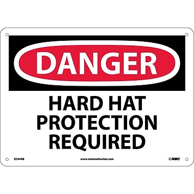 Danger, Hard Hat Protection Required, 10X14, Rigid Plastic