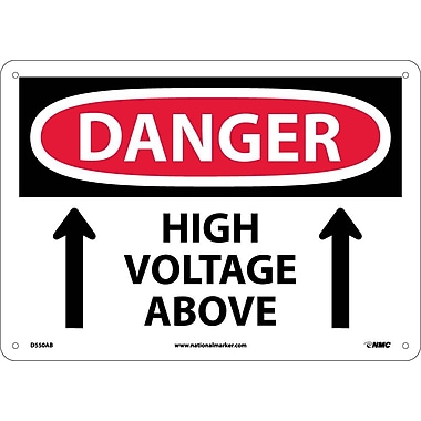 Danger, High Voltage Above, Up Arrow, 10X14, .040 Aluminum