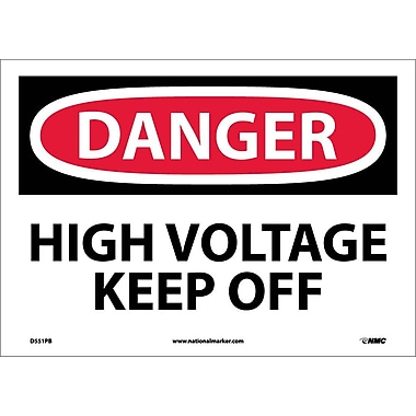 Danger, High Voltage Keep Off, 10X14, Adhesive Vinyl