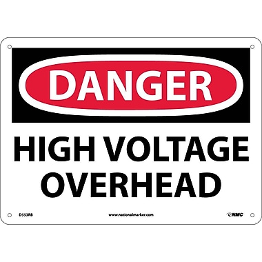 Danger, High Voltage Overhead, 10X14, Rigid Plastic