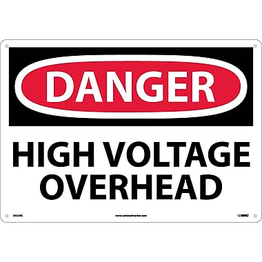 Danger, High Voltage Overhead, 14X20, Rigid Plastic