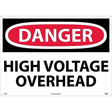 Danger, High Voltage Overhead, 20X28, Rigid Plastic