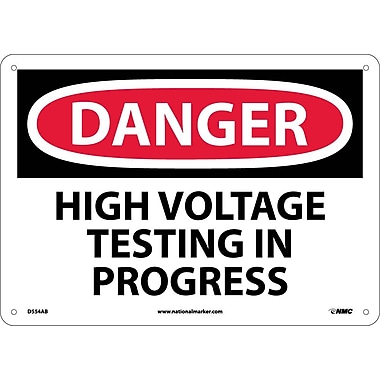 Danger, High Voltage Testing In Progress, 10X14, .040 Aluminum