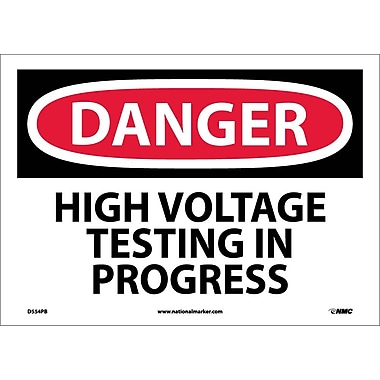 Danger, High Voltage Testing In Progress, 10X14, Adhesive Vinyl