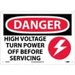Danger, High Voltage Turn Power Off Before Servicing, Graphic, 10X14, .040 Aluminum