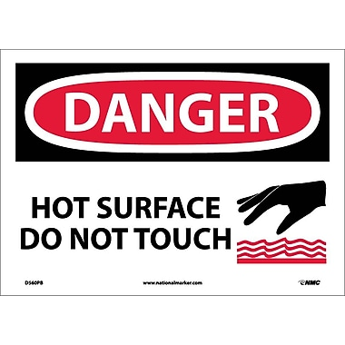 Danger, Hot Surface Do Not Touch, Graphic, 10X14, Adhesive Vinyl