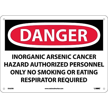 Danger, Inorganic Arsenic Cancer Hazard Authorized Personnel Only No Smoking Or Eating Respirator Required, 10X14, Rigid Plastic