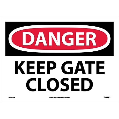 Danger, Keep Gate Closed, 10X14, Adhesive Vinyl