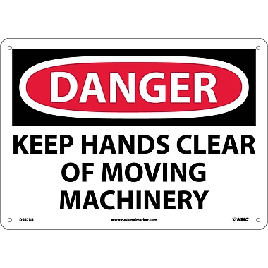 Danger, Keep Hands Clear Of Moving Machinery, 10X14, Rigid Plastic