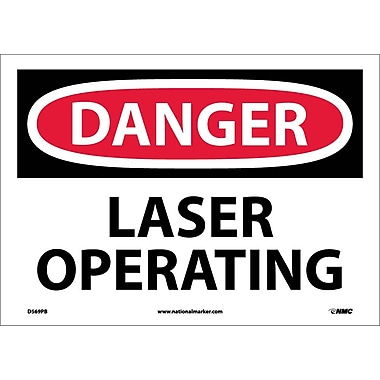 Danger, Laser Operating, 10X14 Adhesive Vinyl