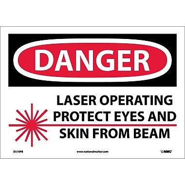 Danger, Laser Operating Protect Eyes And Skin From Beam, Graphic, 10X14, Adhesive Vinyl
