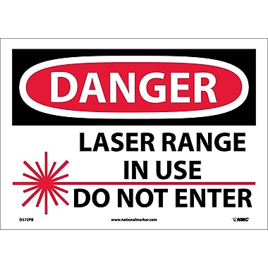 Danger, Laser Range In Use Do Not Enter, Graphic, 10X14, Adhesive Vinyl