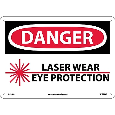 Danger, Laser Wear Eye Protection, Graphic, 10X14, Rigid Plastic