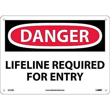 Danger, Lifeline Required For Entry, 10X14, Rigid Plastic