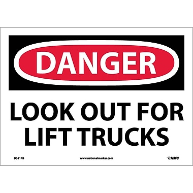 Danger, Look Out For Lift Trucks, 10X14, Adhesive Vinyl