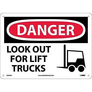 Danger, Look Out For Lift Trucks, Graphic, 10X14, .040 Aluminum
