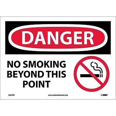 Danger, No Smoking Beyond This Point, Graphic, 10X14, Adhesive Vinyl