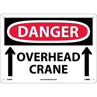 Danger, Overhead Crane, Up Arrows, 10X14, Rigid Plastic