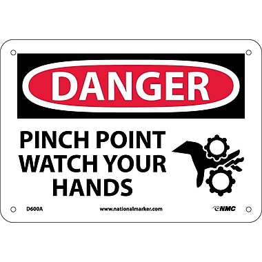 Danger, Pinch Point Watch Your Hands, Graphic, 7X10, .040 Aluminum