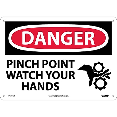 Danger, Pinch Point Watch Your Hands, Graphic, 10X14, .040 Aluminum