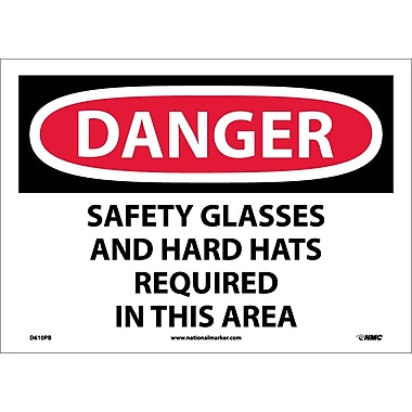 Danger, Safety Glasses And Hard Hats Required In This Area, 10X14, Adhesive Vinyl