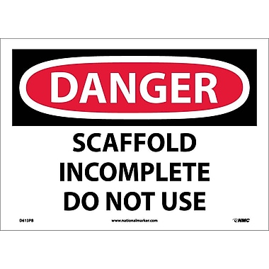 Danger, Scaffold Incomplete Do Not Use, 10X14, Adhesive Vinyl