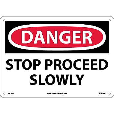 Danger, Stop Proceed Slowly, 10X14, Rigid Plastic