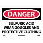 Danger, Sulfuric Acid Wear Goggles And Protective Clothing, 10X14, Adhesive Vinyl