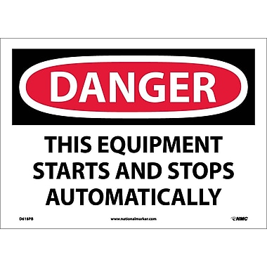 Danger, This Equipment Starts And Stops Automatically, 10X14, Adhesive Vinyl