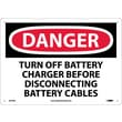 Danger, Turn Off Battery Charger Before Disconnecting Battery Cables, 10X14, .040 Aluminum
