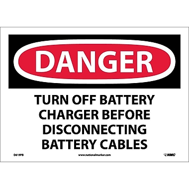Danger, Turn Off Battery Charger Before Disconnecting Battery Cables, 10X14, Adhesive Vinyl
