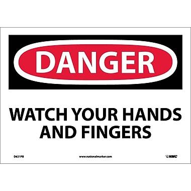Danger, Watch Your Hands And Fingers, 10X14, Adhesive Vinyl
