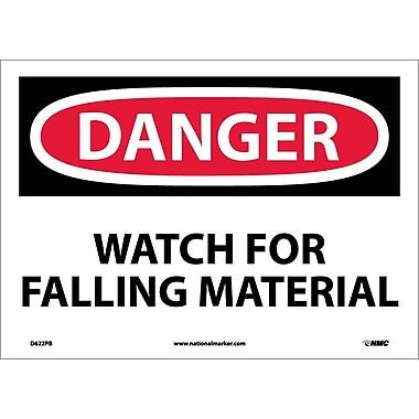 Danger, Watch For Falling Material, 10X14, Adhesive Vinyl