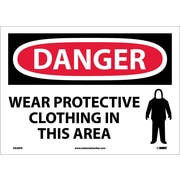 Danger, Wear Protective Clothing In This Area, 10X14, Adhesive Vinyl
