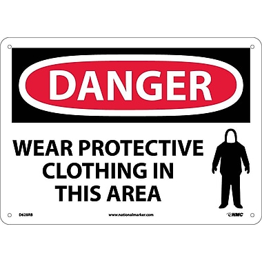 Danger, Wear Protective Clothing In This Area, 10X14, Rigid Plastic