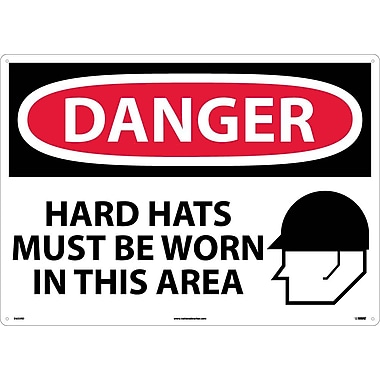 Danger, Hard Hats Must Be Worn In This Area, Graphic, 20X28, Rigid Plastic
