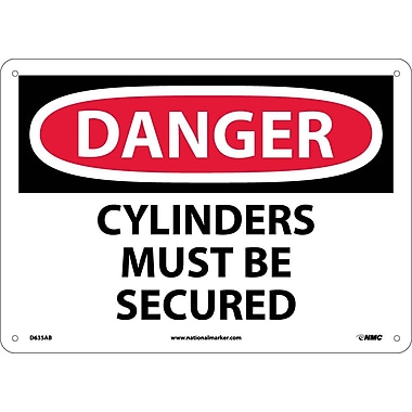 Danger, Cylinders Must Be Secured, 10X14, .040 Aluminum