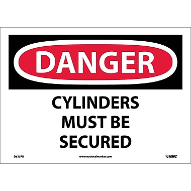 Danger, Cylinders Must Be Secured, 10X14, Adhesive Vinyl