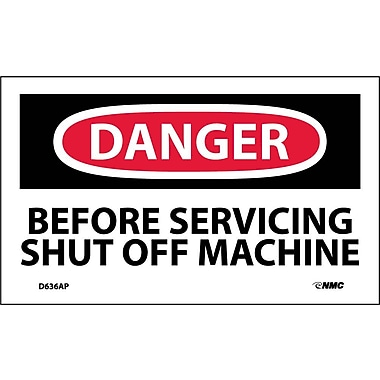 Labels - Danger, Before Servicing Shut Off Machine, 3X5, Adhesive Vinyl, 5/Pk