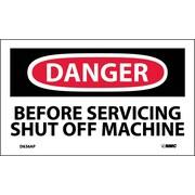 Labels - Danger, Before Servicing Shut Off Machine, 3X5, Adhesive Vinyl, 5/Pk