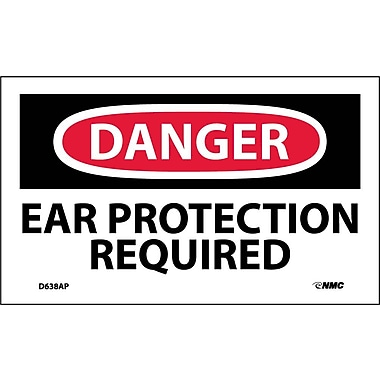 Labels - Danger, Ear Protection Required, 3X5, Adhesive Vinyl, 5/Pk