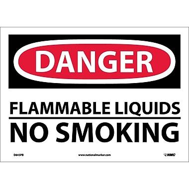 Danger, Flammable Liquids No Smoking, 10X14, Adhesive Vinyl