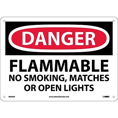 Danger, Flammable No Smoking, Matches Or Open Lights, 10X14, .040 Aluminum