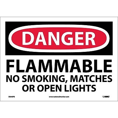 Danger, Flammable No Smoking, Matches Or Open Lights, 10X14, Adhesive Vinyl