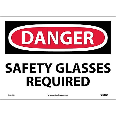 Danger, Safety Glasses Required, 10X14, Adhesive Vinyl