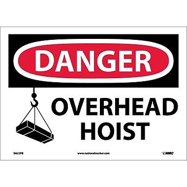 Danger, Overhead Hoist, Graphic, 10X14, Adhesive Vinyl