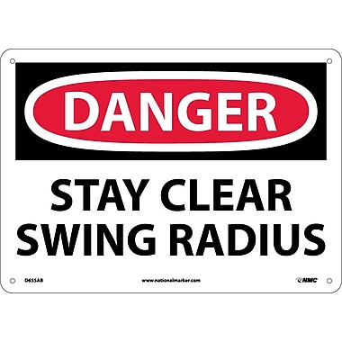 Danger, Stay Clear Swing Radius, 10X14, .040 Aluminum