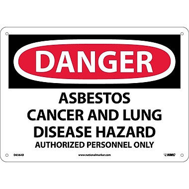 Danger, Asbestos Cancer And Lung Disease Hazard Authorized Personnel Only, 10X14, .040 Aluminum