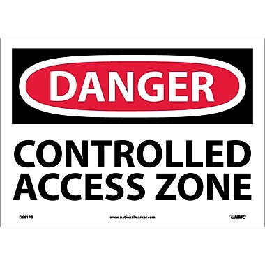 Danger, Controlled Access Zone, 10X14, Adhesive Vinyl