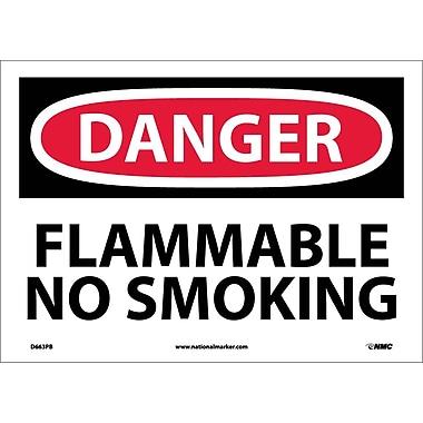 Danger, Flammable No Smoking, 10X14, Adhesive Vinyl
